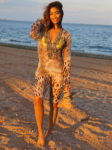 Silk Animal Print Embellished Neckline Beach