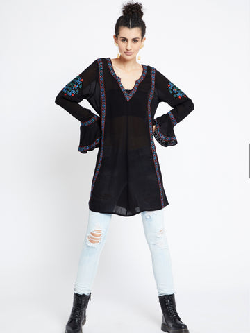 Urban Chic Long Sleeve Embroidered Tunic MDAQ08