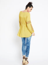 Load image into Gallery viewer, Boho Indian inspired embroidered spice yellow tunic top