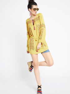 Boho Indian inspired embroidered spice yellow tunic top