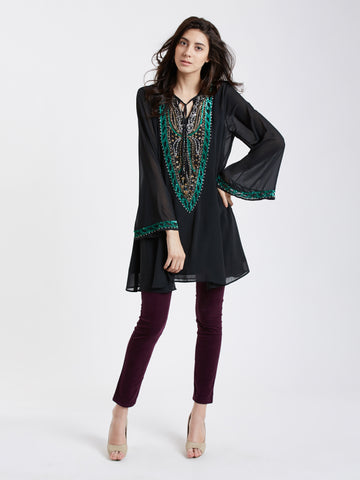 MDSA68B Embroidered tunic with sheer sleeves