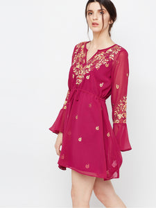 Sexy bell sleeve embroidered tunic dress long sleeve