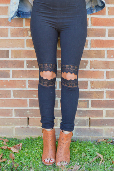 Lacey Romance Black Cut Out Knee Leggings