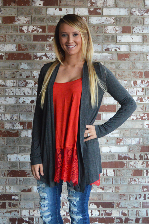 Key To Simplicity Cardigan - Charcoal