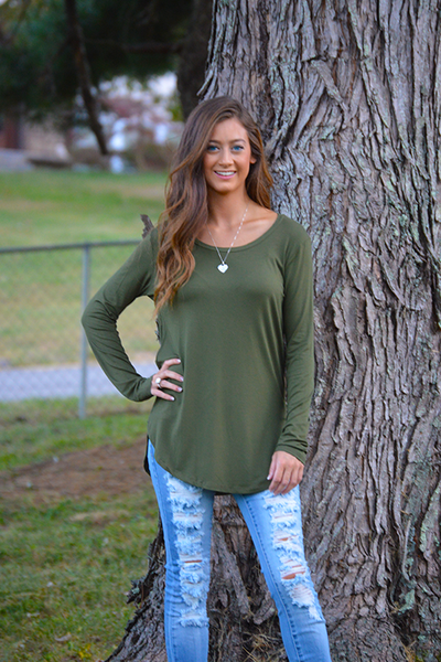 Ever So Soft Long Sleeve - Olive - FINAL SALE - NO RETURN OR EXCHANGE