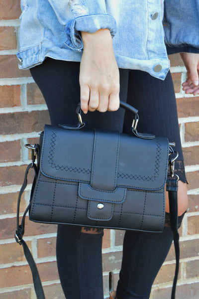 Back In 5 Black Top Handle Satchel / Crossbody