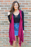 From The Get Go Burgundy Fringe Vest
