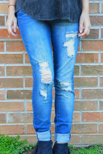 A Little Frayed Skinny Jeans