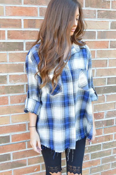 Mountain Views Raw Edge Plaid Top