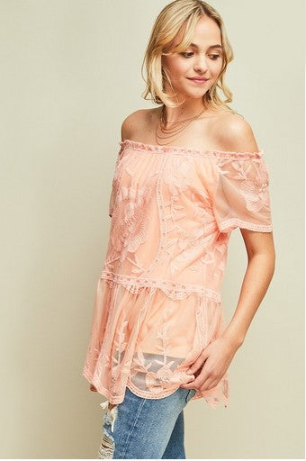 Treat Me Right Off Shoulder Top Peach