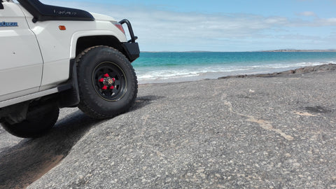 Red Wheel Nut Indicators on the Landcruiser 70 series, Louth Bay SA, NutWare