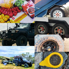 Red, Green, Orange, Black and Yellow extended loose wheel nut indicators and yellow standard indicators, are all Australian Made. The Land Cruiser Troopie fitted with green 22mm and the Kimberly Camper trailer fitted with orange 21mm. Express shipping Australia wide NutWare