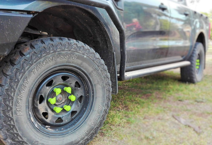 Green NutWare Loose Wheel Nut Indicators on the Ford Ranger