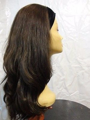 "European BandFall 22"" Medium Brown with Highlights #4 - wigs, Women's Wigs - kosher, Malky Wigs - Malky Wigs"