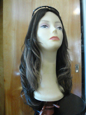 "European Multidirectional 22"" Straight Dark Brown with Blonde Highlights #4/10 - wigs, Women's Wigs - kosher, Malky Wigs - Malky Wigs"