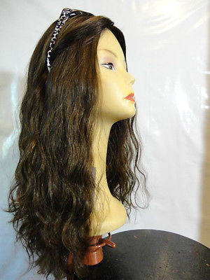 "European Multidirectional 22"" Wavy  Medium Brown/ Highlights #8/4 - wigs, Women's Wigs - kosher, Malky Wigs - Malky Wigs"