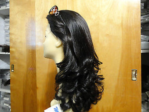 "Remy Human Hair 18"" Darkest Brown with Highlights #4 - wigs, Women's Wigs - kosher, Malky Wigs - Malky Wigs"