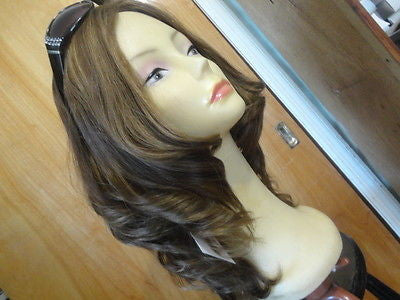 "European Multidirectional 16"" Straight Medium Brown with Highlights #10/6/8 - wigs, Women's Wigs - kosher, Malky Wigs - Malky Wigs"