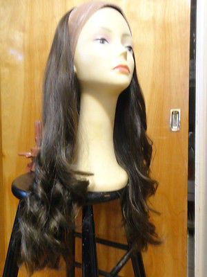 "European BandFall 26"" Medium Brown Highlights #8/4 - wigs, Women's Wigs - kosher, Malky Wigs - Malky Wigs"