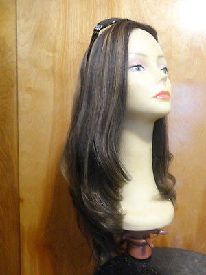 "European Multidirectional 22"" Dark Brown with Blonde Highlights #4/10 - wigs, Women's Wigs - kosher, Malky Wigs - Malky Wigs"