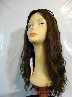 "European Multidirectional 22"" Wavy Medium Brown with Highlights #8/4 - wigs, Women's Wigs - kosher, Malky - Malky Wigs"