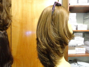 "European Multidirectional 16"" Straight Brown with Highlights #4/8/10 - wigs, Women's Wigs - kosher, Malky Wigs - Malky Wigs"