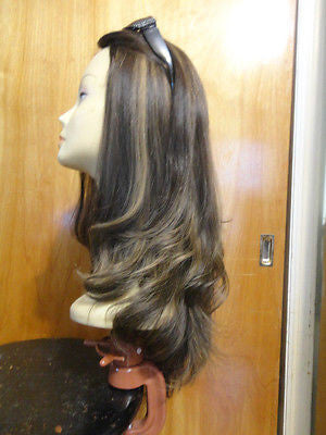 "European Multidirectional 22"" Dark Brown with Blonde Highlights #4/10 - wigs, Women's Wigs - kosher, Malky - Malky Wigs"
