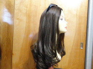 "European Multidirectional 22"" Straight Medium Brown with Highlights #4/8 - wigs, Women's Wigs - kosher, Malky Wigs - Malky Wigs"