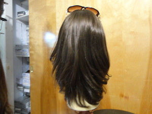 "European Multidirectional 16"" Straight Medium Brown with Highlights #6/8 - wigs, Women's Wigs - kosher, Malky Wigs - Malky Wigs"