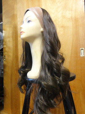 "European BandFall 26"" Medium Brown Highlights #8/4 - wigs, Women's Wigs - kosher, Malky - Malky Wigs"
