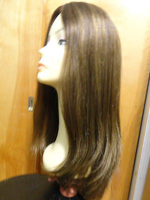 "European Multidirectional 22"" Straight Medium Brown with Highlights #4/8/10 - wigs, Women's Wigs - kosher, Malky - Malky Wigs"