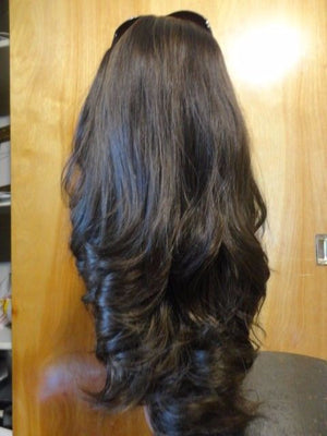 "European Multidirectional 22"" Straight Medium Brown with Highlights #8/4 - wigs, Women's Wigs - kosher, Malky Wigs - Malky Wigs"