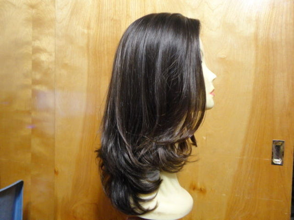 "European Multidirectional 16"" Straight Dark Brown with Highlight #6/2 - wigs, Women's Wigs - kosher, Malky Wigs - Malky Wigs"