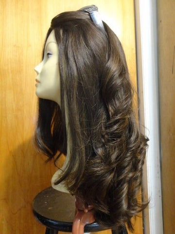 "European Multidirectional 22"" Straight Medium Brown with Highlights #8/4 - wigs, Women's Wigs - kosher, Malky - Malky Wigs"