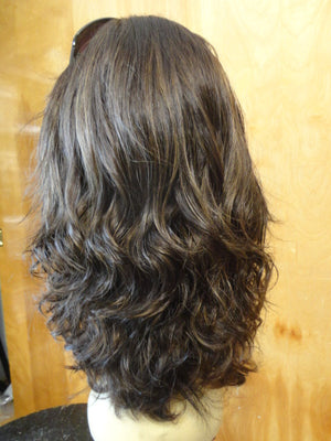 "European Multidirectional 16"" Wavy Dark Brown with Highlights #8/4 - wigs, Women's Wigs - kosher, Malky Wigs - Malky Wigs"