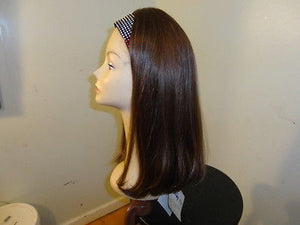 Remy Human Hair Bandfall Medium Brown with Highlights #8/4 - wigs, Women's Wigs - kosher, Malky Wigs - Malky Wigs
