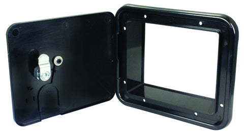 Electric cable access hatch in black for tiny house or home. Available through tinyhousedepot.com