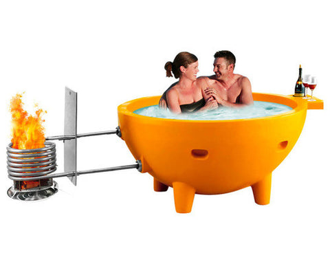 ALFI brand FireHotTub The Round Fire Burning Portable Outdoor Hot Bath Tub. Perfect for Tiny Houses, mobile homes, and cabins. Available through Tiny House Depot