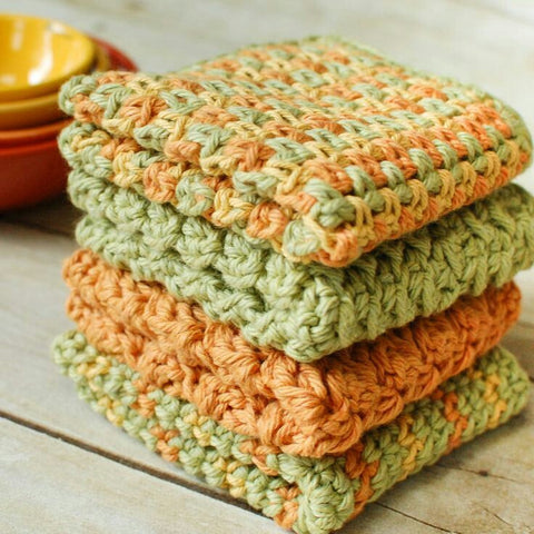 Tri-Color or Solid Handmade Dishcloths