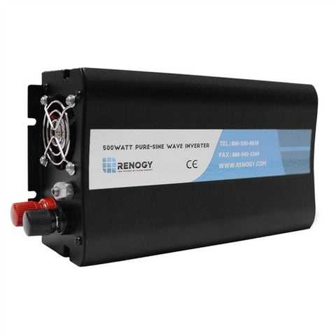 Renogy 500W 12V Off-Grid Pure Sine Wave Battery Inverter w/ Cables