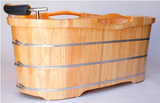 Luxurious ALFI Brand 61'' Free-Standing Oak Bathtub with Headrest