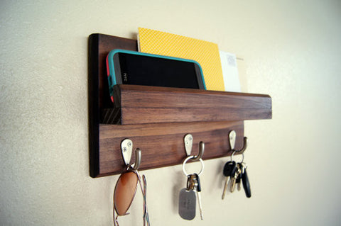 Handmade solid wood key hanger with mail holder perfect for a tiny house