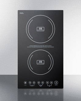 Summit Two Burner Built-in Smooth Top Induction Cooktop, 230 V