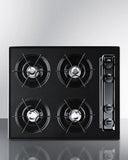 "Summit 24"" Wide Cooktop in Black, with Four Burners and Battery Start Ignition"