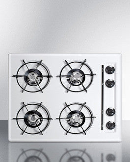 "Summit 24"" Wide Gas Cooktop in White, with Four Burners and Battery Start Ignition;"