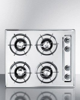 "Summit 24"" Wide Gas in Chrome, with Four Burners and Battery Start Ignition;"