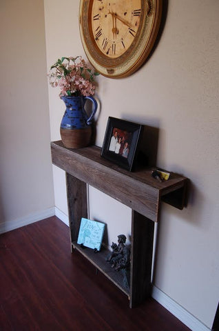 Handmade cedar console table perfect for your tiny home. Some assembly required.