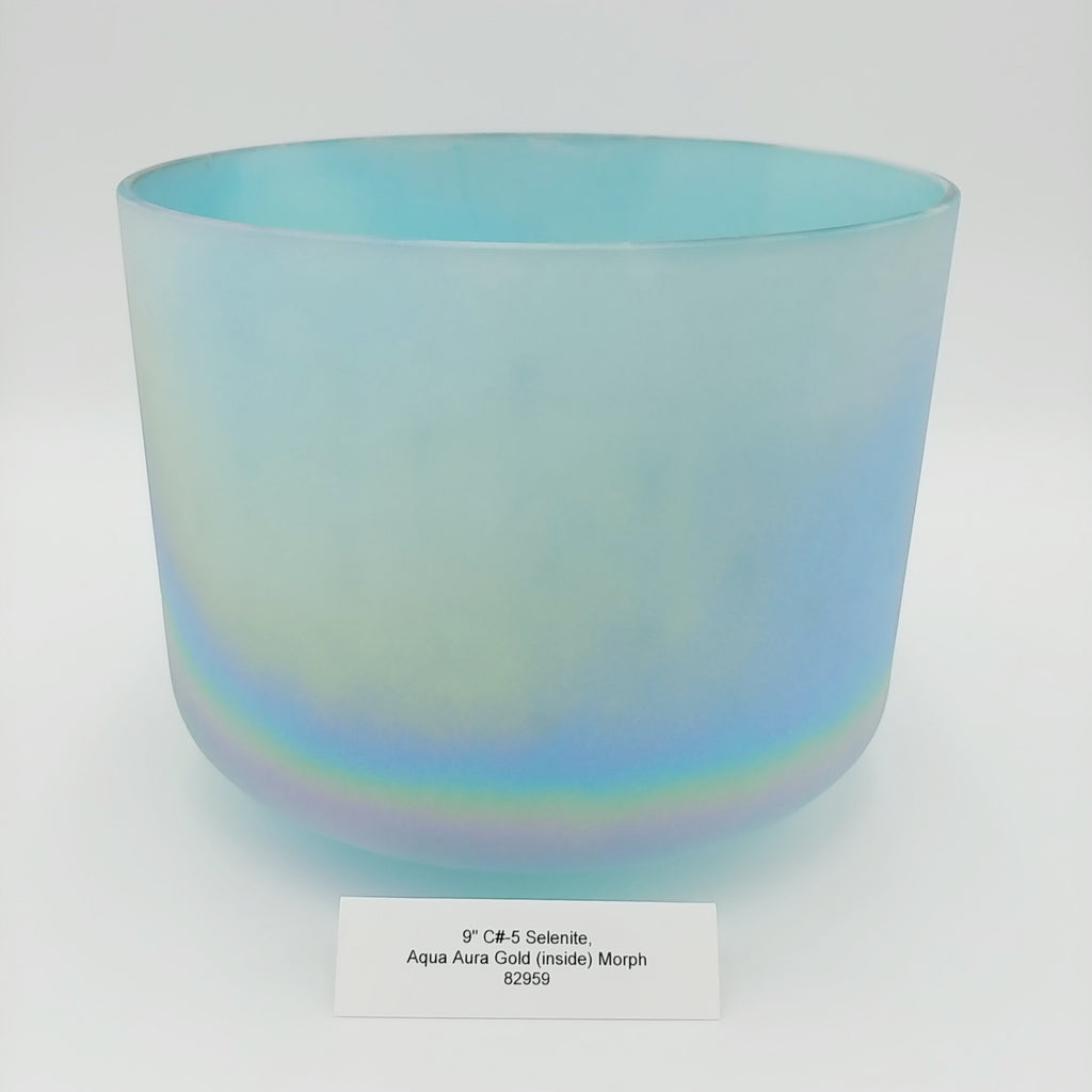 "9"" C# -5 Selenite/Aqua Aura Gold Crystal Alchemy Bowl"