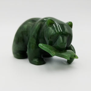 Nephrite-Jade Small Bear with fish