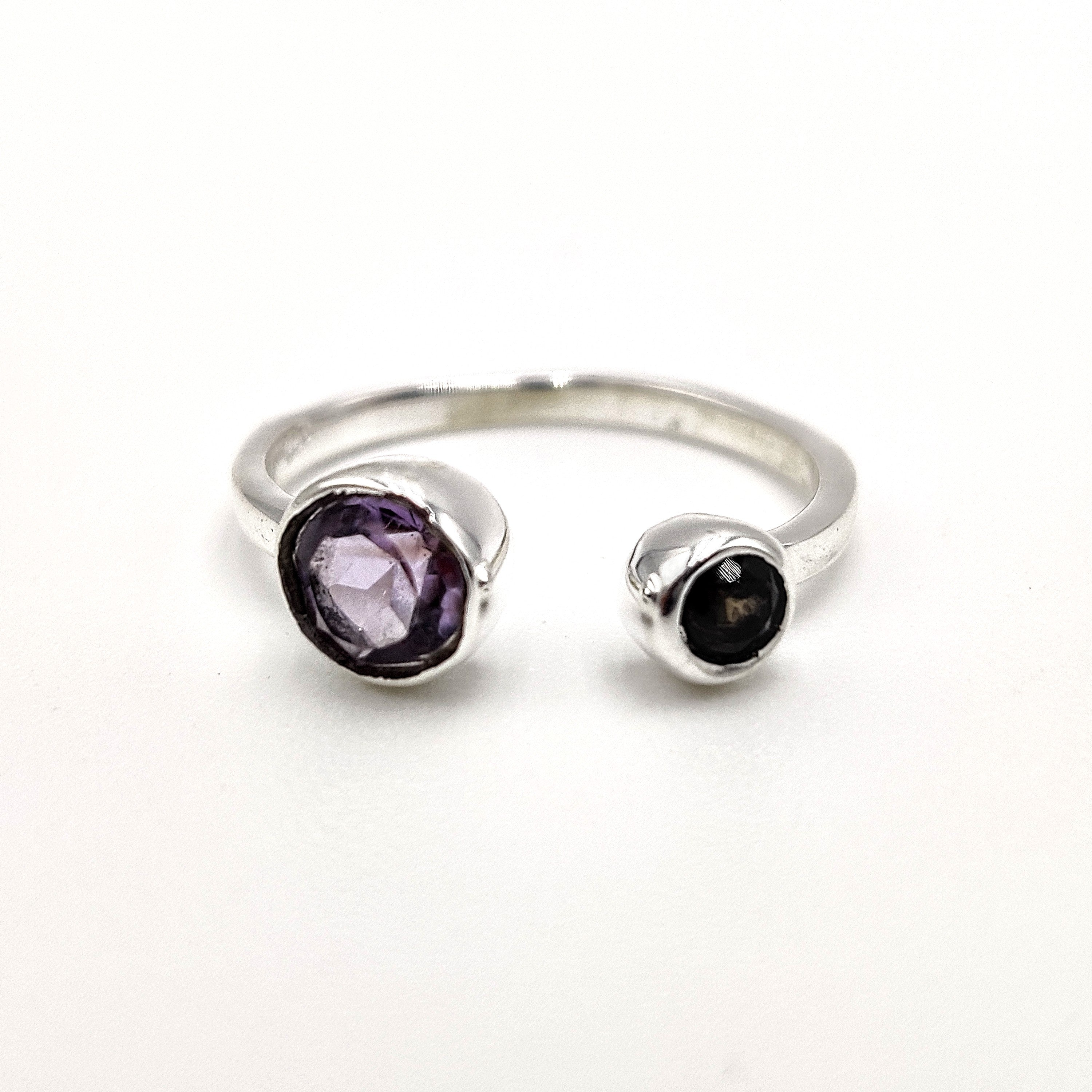 Ring - Silver sz5 - Amethyst Square Faceted - CHR057-AM-SQ5
